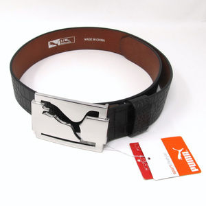 Puma Black Leather Belt NWT Croc Print Sz Small